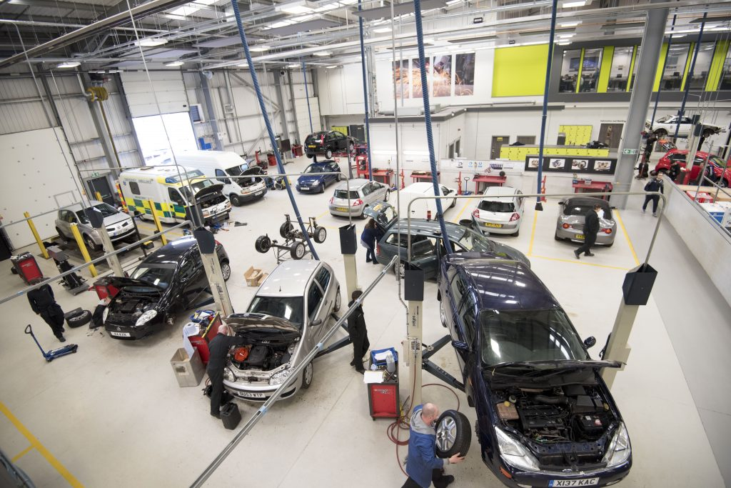 Car garage at West Nottinghamshire College for board recruitment