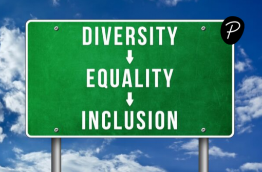 Diversity in charity recruitment image by Peridot Partners showing a sign with diversity, equality and inclusion